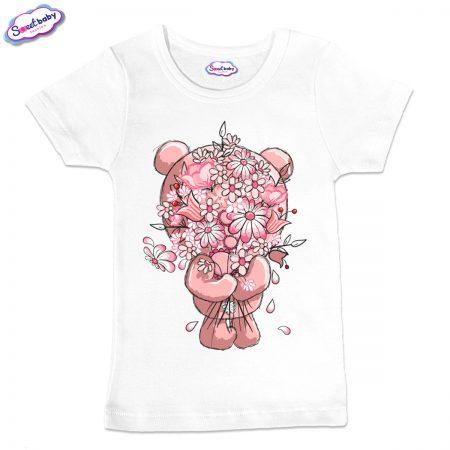Детска тениска в бял цвят Срамежливка