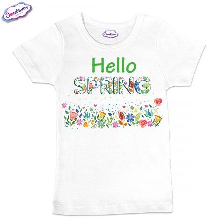 Детска тениска в бял цвят Spring