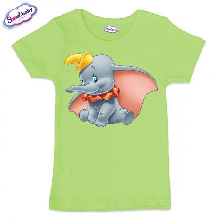Детска тениска в зелено Дъмбо Дисни