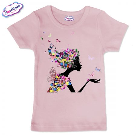 Детска тениска в розов цвят Цветна