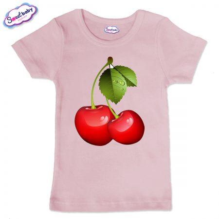 Детска тениска в розов цвят Черешки