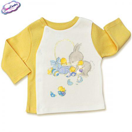 Бебешка жилетка в жълто Зайче с излюпени пиленца
