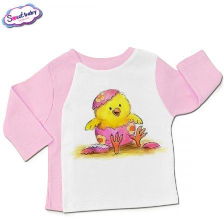Бебешка жилетка в розово и бяло Шарено яйце