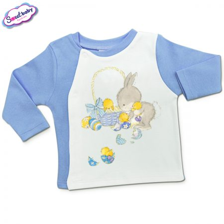 Бебешка жилетка в синьо Зайче с излюпени пиленца