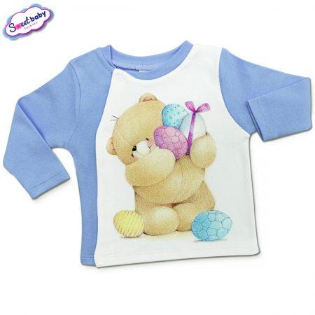 Бебешка жилетка в синьо Мечо с яйчица