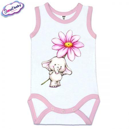 Бебешко боди потник с розов кант Слонче с цветенце