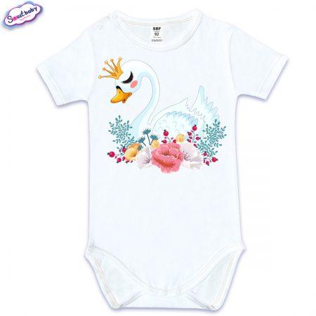 Бебешко боди с къс ръкав в бяло Лебед