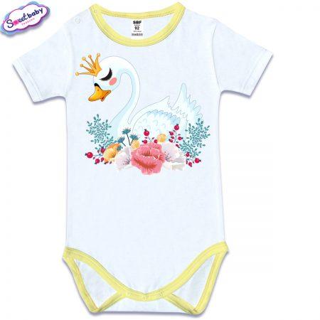 Бебешко боди с къс ръкав и жълт кант Лебед