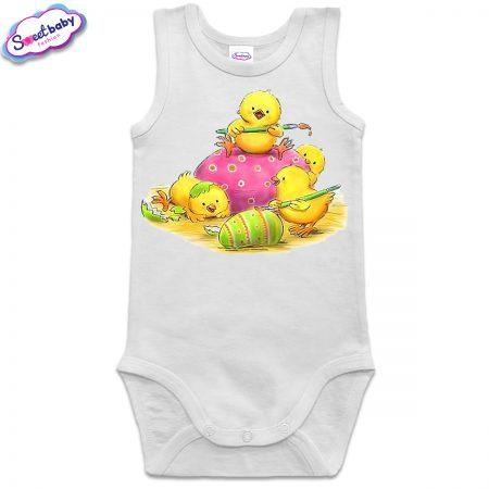 Бебешко боди тип потник в бяло Великденски пиленца