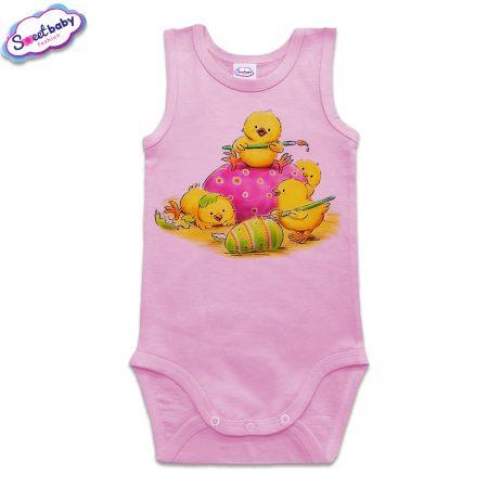 Бебешко боди тип потник в розово Великденски пиленца