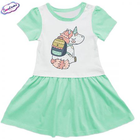 Детска рокличка в мента и бяло Еднорог с раничка