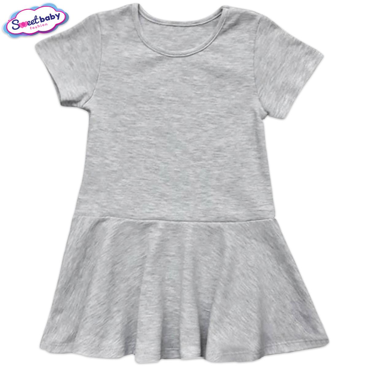 Детска рокличка в сив меланж