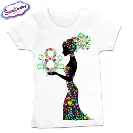 Детска тениска в бяло 8 март