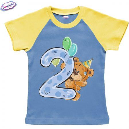 Детска тениска в жълто и синьо Две годинки