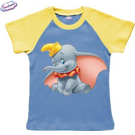 Детска тениска в жълто и синьо Dumbo Disney
