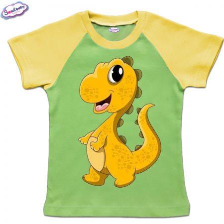 Детска тениска в зелено и жълто Малко динозавърче