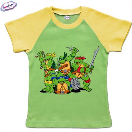Детска тениска в зелено и жълто Нинджите