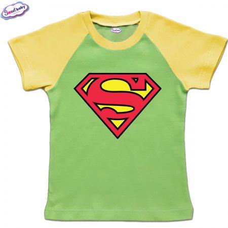 Детска тениска в зелено и жълто Супермен