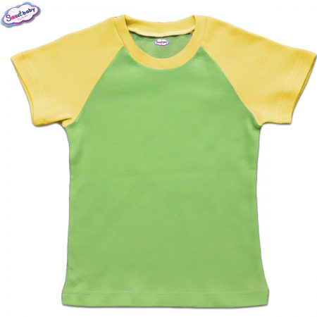 Детска тениска в зелено и жълто