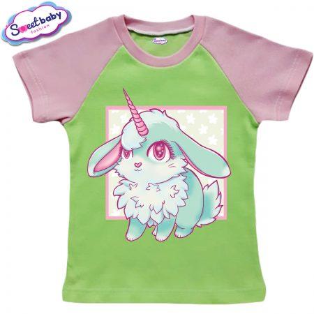Детска тениска в зелено и розово Зайче Bunnycorn