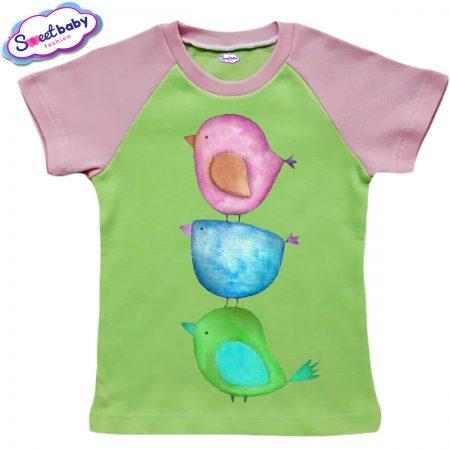 Детска тениска в зелено и розово Цветни птичета