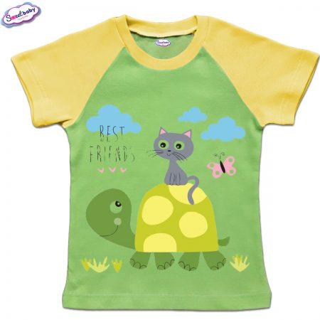 Детска тениска в зелено Best friends