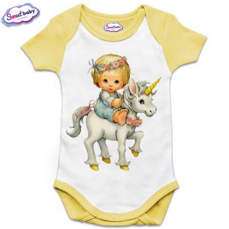 Бебешко боди USс къс ръкав в жълто Детенце на еднорог