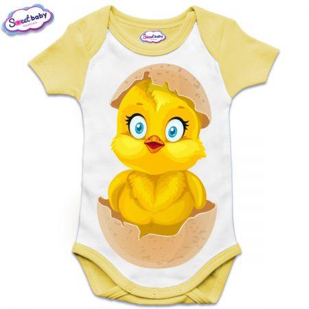Бебешко боди US с къс ръкав в жълто Излюпено пиленце