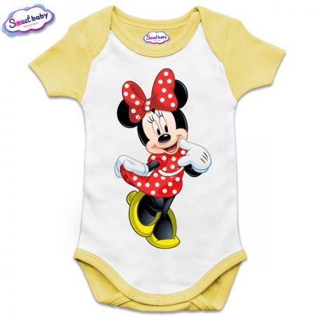 Бебешко боди US с къс ръкав в жълто Мини Маус на точки