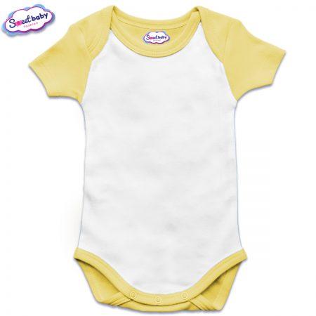 Бебешко боди US с къс ръкав в жълто и бяло