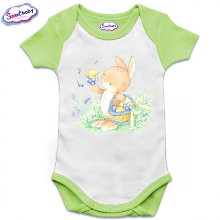 Бебешко боди US с къс ръкав в зелено Зайко с пиленце