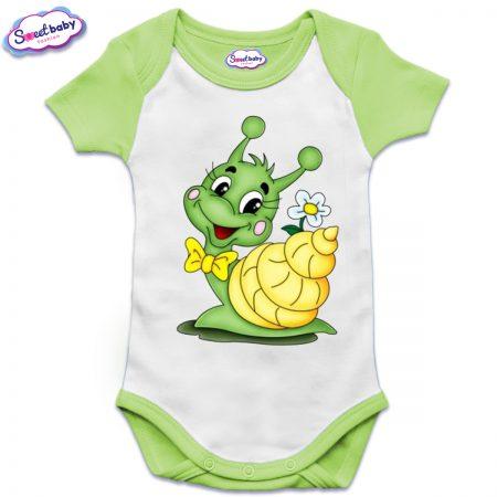 Бебешко боди US с къс ръкав в зелено Охлювче