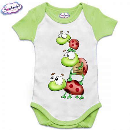 Бебешко боди US с къс ръкав в зелено Трите костенурчета