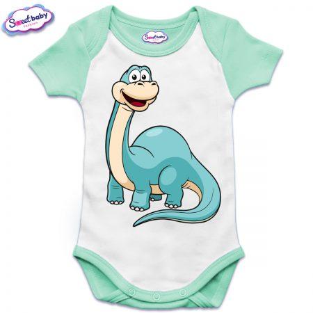 Бебешко боди US с къс ръкав в мента Динозавърче