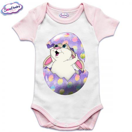 US бебешко боди с къс ръкав в розово и бяло Великденско зайче