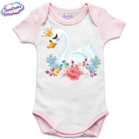 US бебешко боди с къс ръкав в розово и бяло Лебед