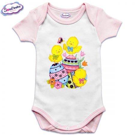 US бебешко боди с къс ръкав в розово и бяло Пиленца и яйчица