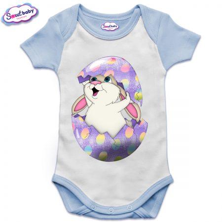 US бебешко боди с къс ръкав в синьо и бяло Великденско зайче
