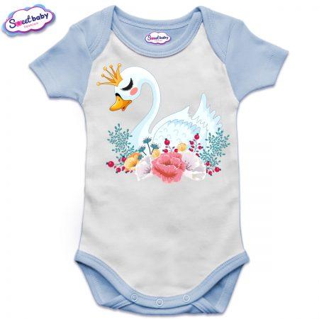 US бебешко боди с къс ръкав в синьо и бяло Лебед