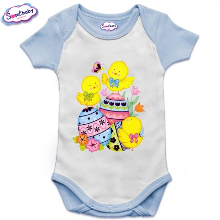 US бебешко боди с къс ръкав в синьо и бяло Пиленца и яйчица