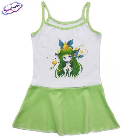 Детска рокличка с тънки презрамки в зелено Магия