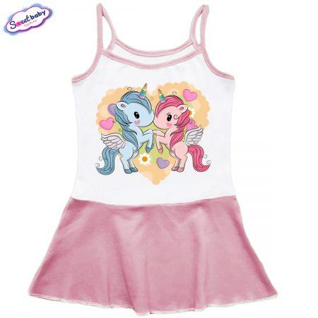Детска рокличка с тънки презрамки в розово Малки Еднорогчета
