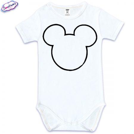 Бебешко боди с къс ръкав в бяло Maus