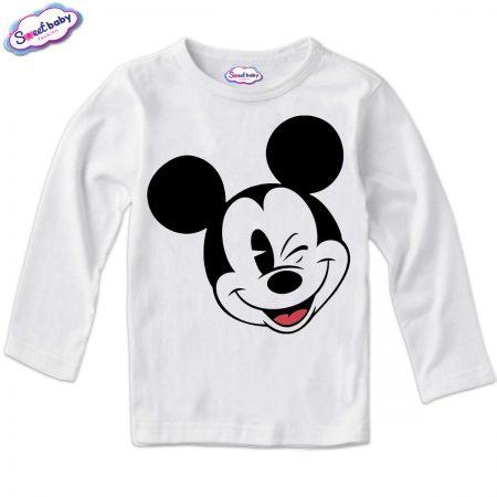 Детска блузка в бяло с дълъг ръкав Мики