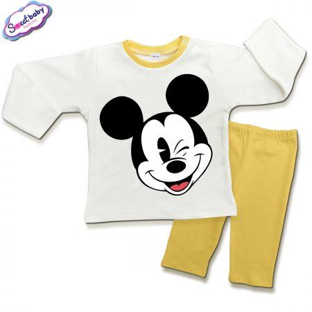 Детска пижамка в жълто и бяло Мики