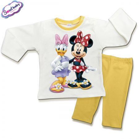 Детска пижамка в жълто и бяло Мини приятелки