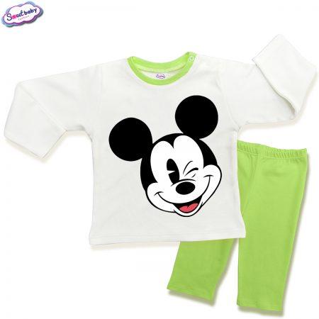 Детска пижамка в зелено и бяло Мики