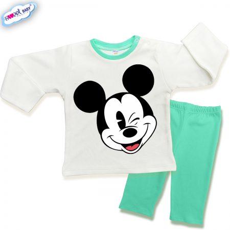 Детска пижамка в мента и бяло Мики