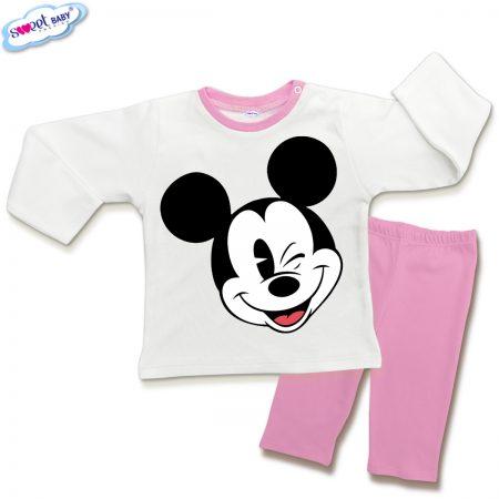 Детска пижамка в розово и бяло Мики