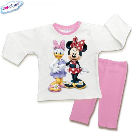 Детска пижамка в розово и бяло Мини приятелки